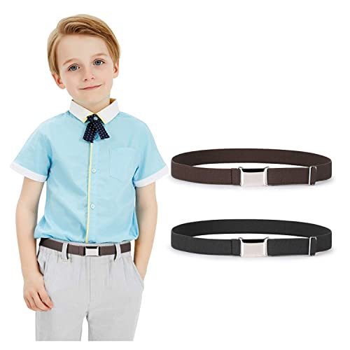Toddler Kids Boy Buckle Belt Adjustable Elastic Child Silver Buckle Belts for Girls Red//White//Black 3 Pieces