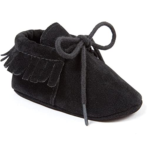 F-Black,US6.5 Owlowla Baby Crib Shoes Suede Leather Non-Slip Soft Soles Baby Infant Toddler Pre-Walker Shoes
