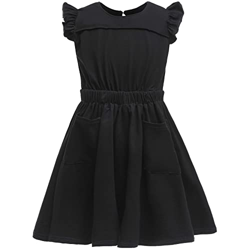 GORLYA Girls Flutter Sleeve Stretchy A-Line Swing Flared Skater Party Dress with Pockets for 4-12 Years Kids