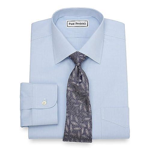 Paul Fredrick Mens Slim Fit Non-Iron Cotton Button Down Collar Dress Shirt Pink 14.5//32