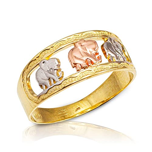 Three Elephants Ring Solid 14k Yellow Gold Good Luck Charm Band Polished Design