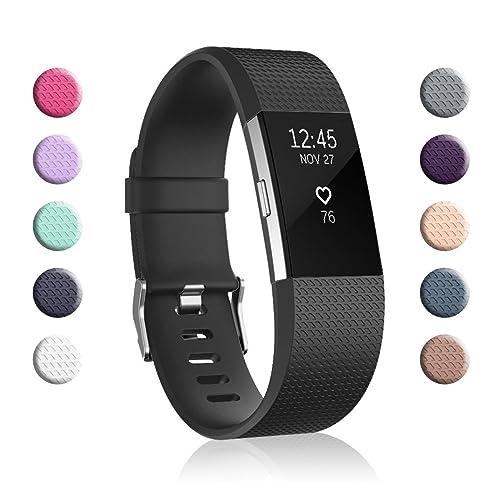 Tobfit Bracelet Compatible Fitbit Charge 2 en Cuir Sport Femme Homme,Bande de Rechange Ajustable connecteurs en m/étal Accessoires
