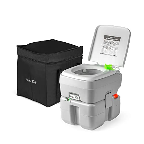 Alpcour Portable Toilet – Compact Indoor & Outdoor Commode w/Travel Bag for  Camping, RV, Boat & More – Piston Pump Flush, 5 3 Gallon Waste Tank,