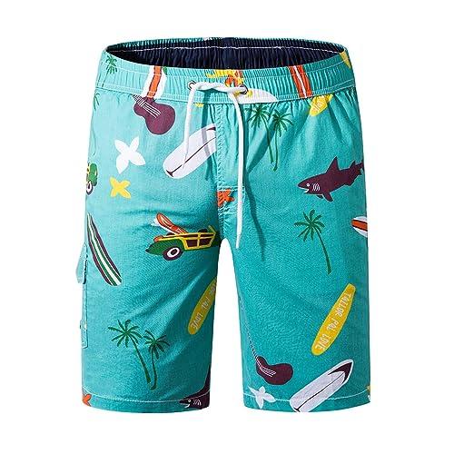Mens Hawaiian Shorts Holiday Summer Beach Mesh Elastic Lined Swim Trunks S-XL