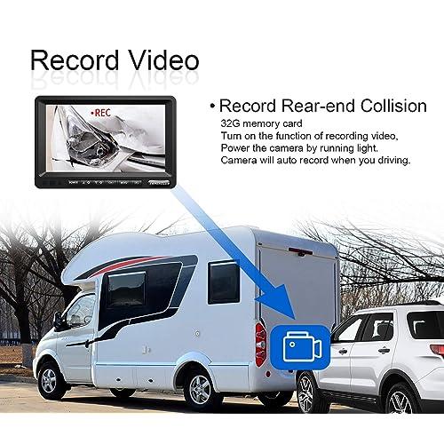 SW01-black 7 Inch HD 1080p LCD Monitor and IP69 Waterproof Rear Camera System,HDCVI Signal,Night Vision,Record ZEROXCLUB HD Digital Wireless Backup Camera for RV//Truck//Trailer//Van//Bus