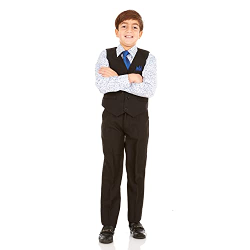 Vittorino Boys Jacquard 4 Piece Suit Set with Vest Pants Dress Shirt and Tie