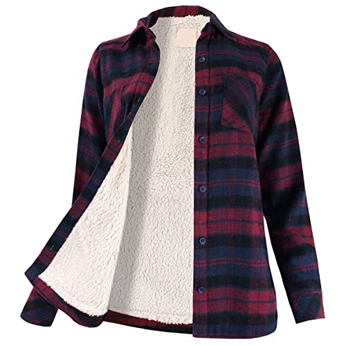 Women/'s Winter Flannel Plaid Button Down Top with Sherpa Fleece Lining