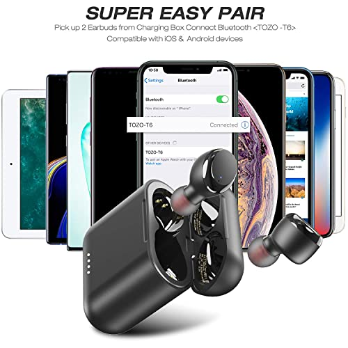 Tozo T6 True Wireless Earbuds Bluetooth Headphones Touch Control With Wireless Charging Case Ipx8 Waterproof Tws Stereo Earphones In Ear Built In Mic Headset Premium Deep Bass For Sport Black Buy Products Online