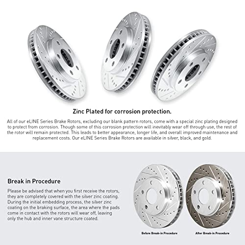 Front Drill Slot Brake Rotors For 2014 2015 Mazda 6 2013-2016 Mazda CX-5