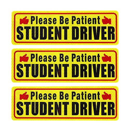 Botocar Student Driver Magnet Car Signs Strong Student Driver Magnets Reflective Vehicle Bumper Sticker for New Drivers Magnetic Sticker Yellow Large Bold Text 10 x 3.5 Inch Pack of 3