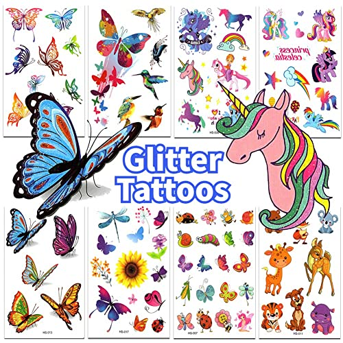 50 Glitter styles xo Butterfly Party Favors Birthday Party Supplies Fetti Butterfly Tattoos for Kids Fairy Decor