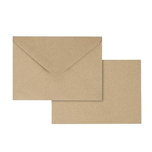 4.6 x 6.3 Inches Contour Flap Envelopes Juvale 50 Pieces Kraft Envelopes Baby Showers Perfect for Weddings Graduations 120 GSM