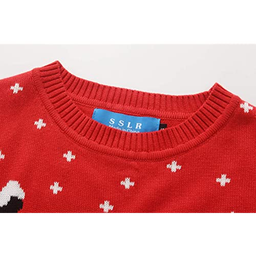 Camii Mia Big Girls Fun Reindeer Crew Neck Pullover Ugly Christmas Sweater