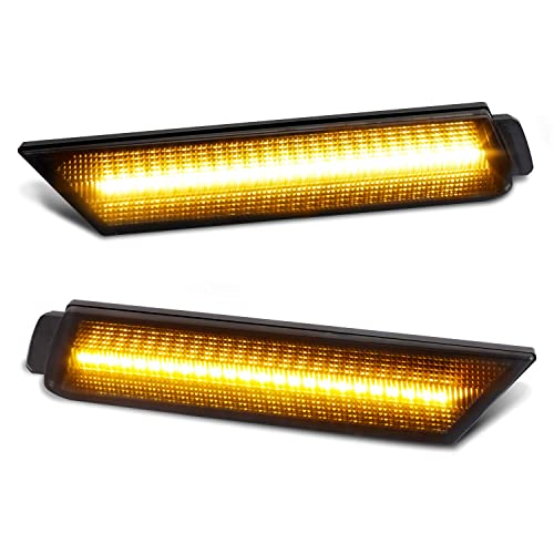 Pack of 2 RUXIFEY Sequential LED Side Marker Lights Smoked Front Sidemarker Compatible with Dodge Challenger 2008 to 2014 Amber