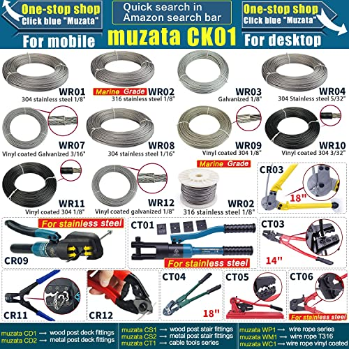 Muzata Swage Die for 1//8 Wire Rope Cable Railing End Fittings,for CR09 and CK12 Custom Hydraulic Hand Crimper Tool CT07,series CT1