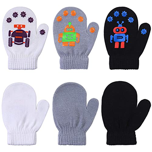Cooraby 12 Pairs Toddler Winter Mittens Unisex Knitted Baby Gloves Mittens