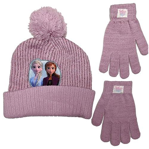 NEW Toddler Girls Beanie Hat Mittens Set Blue Disney Frozen Princess Elsa Knit
