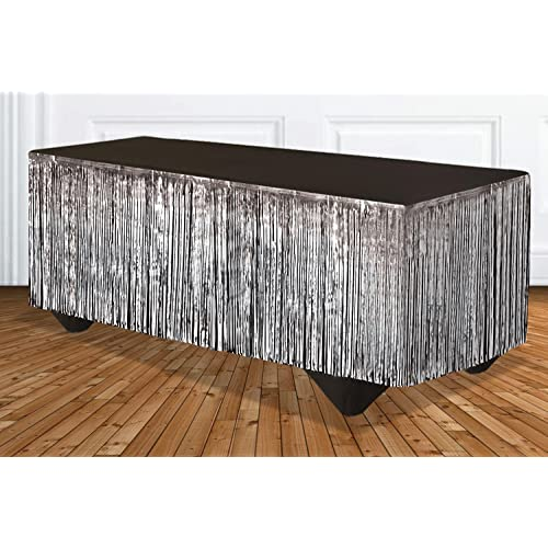 Silver 144 x 29 144 x 29 Forum Novelties 76193 Party Supplies Tinsel Fringe Table Skirt