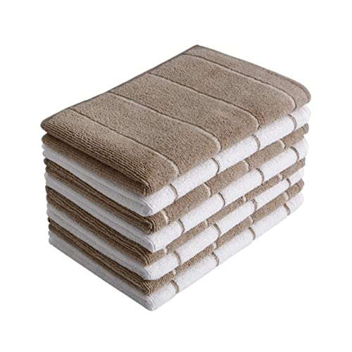- Soft Super Absorbent and Lint Free Kitchen Towels Gryeer Microfiber Dish Towels 26 x 18 Inch 8 Pack Stripe Designed Gray and White Colors