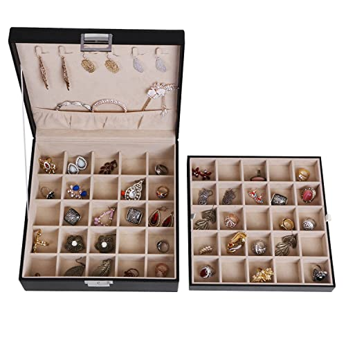 Elegant Jewelry Storage Box for Girls Women Rings Black Faux Leather SSH11B 6 Necklace Hook 2 Stackable Trays BEWISHOME Earring Organizer Holder for Cufflinks Chain 50 Slots Case Pendants