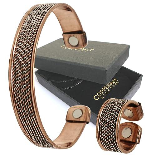 Bracelet chaîne en cuivre avec aimants pour femme