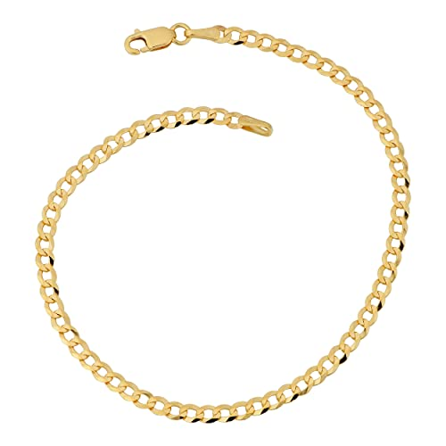 10k Yellow Gold Polished 3mm Concave Anchor Link Chain Bracelet 7-24
