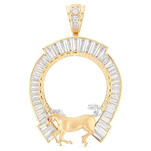 GPP175 Gold Color Plated Stainless Steel Chai Charm Pendant w// Clear CZ
