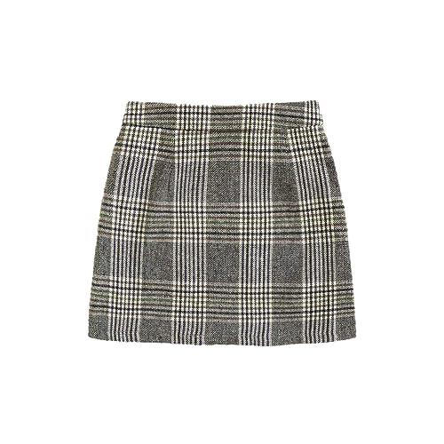 Floerns Womens Plaid Bodycon Split Mini Skirt