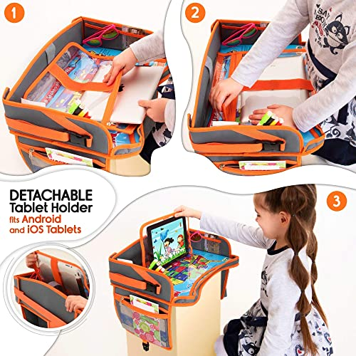 Stroller Waterproof Dry Erase Top Car Seat Organizer Kids Travel Tray for Kids Toddlers Activities in Car Seat Side Pocket /& Water Bottle Holder Black Airplane New Version Touch Screen iPad Holder