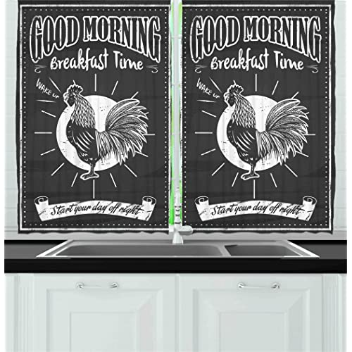 Buy Ambesonne Retro Kitchen Curtains Chalkboard Art Morning Rooster In Style Inspirational Phrase Print Window Drapes 2 Panel Set For Cafe Decor 55 X 39 Black White Online Morocco B01htoc2kk