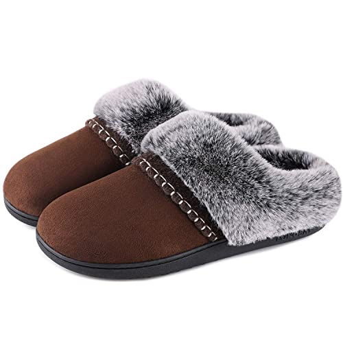 LongBay Ladies Memory Foam Open Toe Slippers with Bow Womens Comfort Slip On Home Indoor Outdoor Shoes