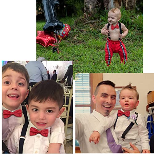 3 Sizes Kids Suspenders and Bowtie Set for Boys Girls and Baby Birthday Photography by WELROG