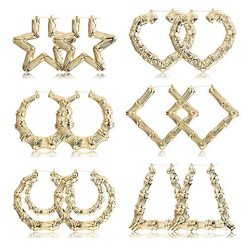 E-788 + E-799 Goldtone 3.25 Inch Bamboo Style Hoop Earrings and a Triangle Bamboo 3.5 Inch Hoop