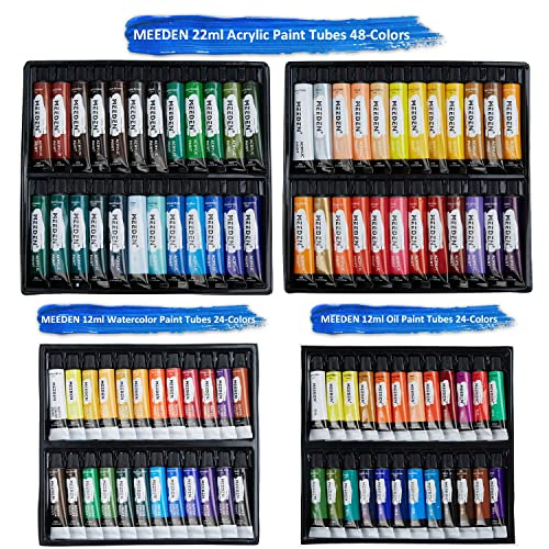 for Artists Easel Art Set Solid Beech-Wood Studio Sketch Easel Box MEEDEN Acrylic Painting Set 24/×12ML Acrylic Paints Acrylic Paintbrushes Paint Palette Beginner /& Adults Canvas Panels