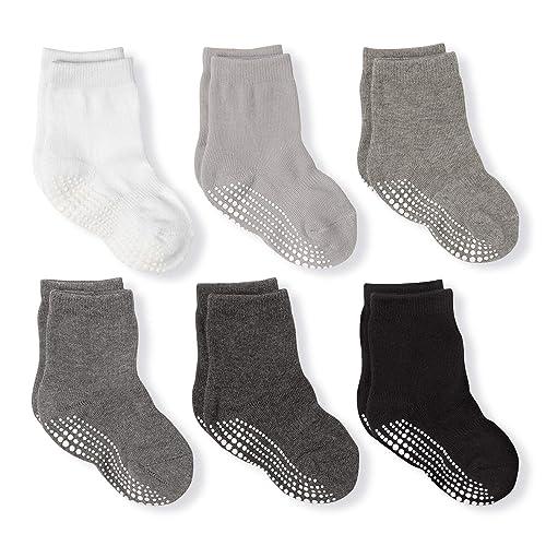 6 Pairs Infant Low Cut Socks Non Slip Anti Skid Unisex Boys Girsl 0-3 Years OPAWO Baby Cotton Ankle Grip Socks