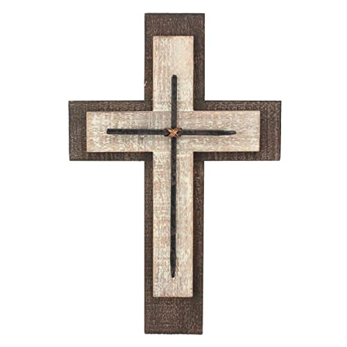 Buy Stonebriar Decorative Worn White And Brown Wooden Hanging Wall Cross Rustic Cross For Wall Of Crosses Religious Home Decor Gift Idea For Birthdays Easter Christmas Weddings Or Any Occasion Online In