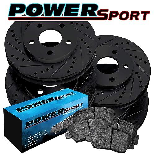 Fit 2004-2010 BMW X3 Rear PowerSport Blank Brake Rotors Ceramic Brake Pads