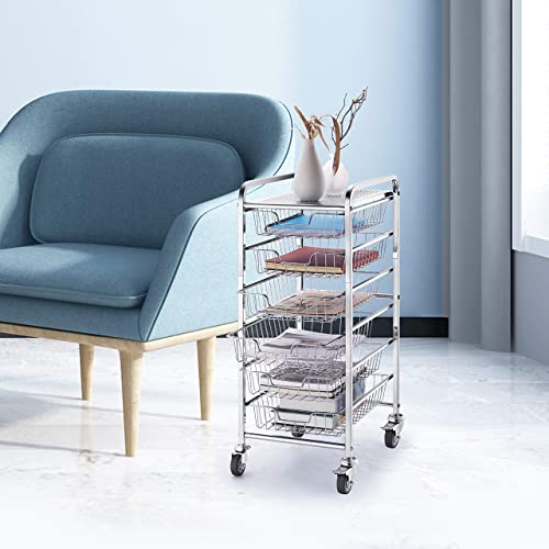 Simple Trending 6-Drawer Organizer Cart Chrome Office Supplies Cabinet Organizer with Sliding Storage Drawers