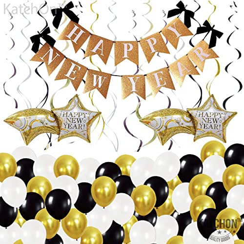 Black Gold Confetti Latex Balloons 2021 Foil Balloon, 2021 Party Decoration New Year Foil Balloons,Swirls QICIG Happy New Year Banner Decoration Happy New Year Banner