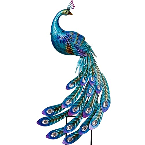 Buy Teresas Collections 41 5 Inch Peacock Stake And Metal Wall Art Décor Dual Use Garden Statues Artwork For Outdoor Patio Yard Indoor Home Decorations Online In Morocco B07w4mx756