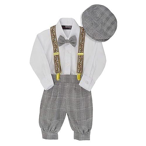 Tuxgear Boys Beige Plaid Vintage Knicker Outfit with Brown Adjustable Suspenders