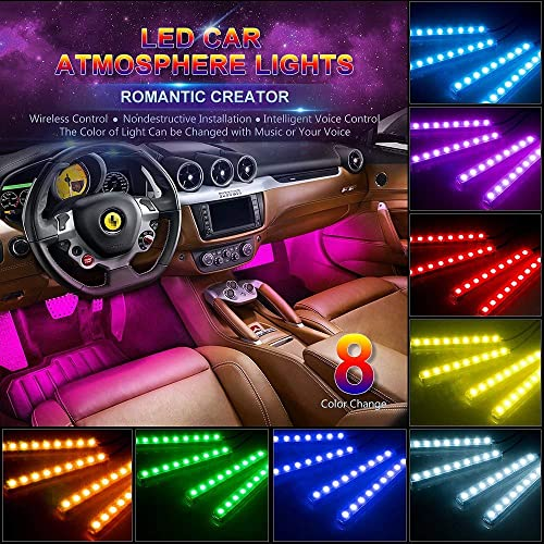 Heart Horse Car LED Strip Light 4pcs 48LED 12V Multi-Color Music Car Interior Atmosphere Underdash Lighting Kit with Sound Active Function and Wireless Remote Control