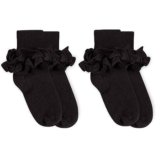 Ivory Pink or Bubblegum X-Small Girls Misty Ruffle Socks by Jefferies White