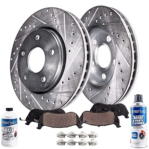 Premium Drilled and Slotted Disc Brake Rotors Pair and Ceramic Pads Front Set
