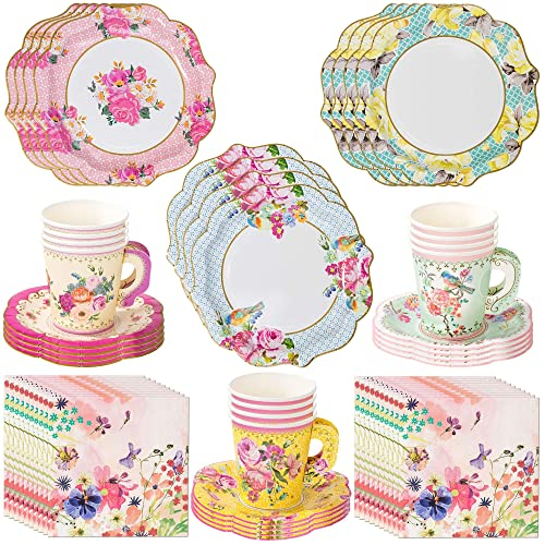 24 Disposable Tea Party Cups 5 oz 3 24 Saucers 5 Paper Floral Shaped Plate Teacup Set with Handles for Kids Girls Mom Coffee Mugs Wedding Birthday Bridal Baby Shower Mint Green Pink Table Supplies