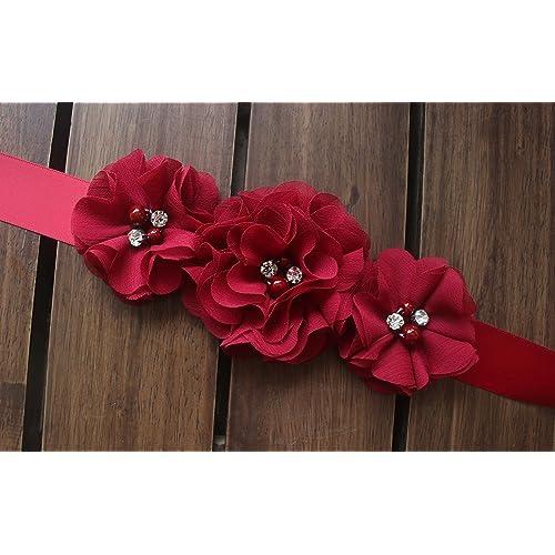 FANFAN Rustic Flower Girl Belt Wedding Sash Baby Showers Sash Maternity Belt Y050