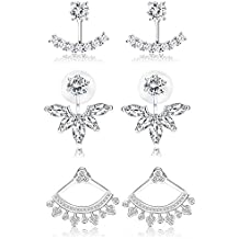 Simple Chic Earrings for Women and Girls IRIS GEMMA Ear Jacket Earring Platinum Plated Hypoallergenic Earring Jackets for Sensitive Ears