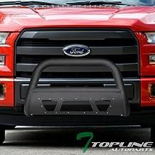 Topline Autopart Matte Black Studded Mesh Bull Bar Brush Push Front Bumper Grill Grille Guard With Skid Plate For 97-04 Dodge Dakota 98-03 Durango
