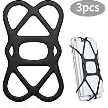 Security Strap Bike Mount.Silicone Band Holder Sinjimoru Cell Phone Band Holder for Portable Charger Elastic Rubber Silicone Band Lock Holder for Power Bank on iPhone Black 1pc