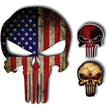 Sticker Military-Marines-Army PACK OF 3 REFLECTIVE CRACKED ROCK American Flag